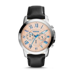 b5233b4467b5 Fossil Grant Chronograph Leather Watch - Black Black Leather Watch