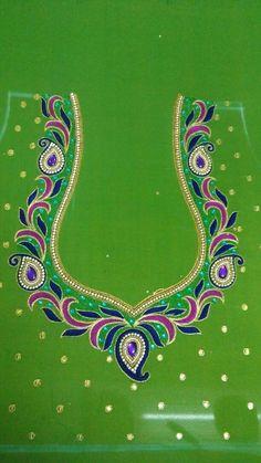Cutwork Blouse Designs, Simple Blouse Designs, Bridal Blouse Designs, Blouse Neck Designs, Simple Designs, Peacock Embroidery Designs, Embroidery Leaf, Machine Embroidery Designs, Mirror Blouse Design