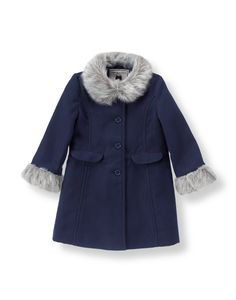 A cold weather treasure, our luxe coat is accented with plush faux fur trim…