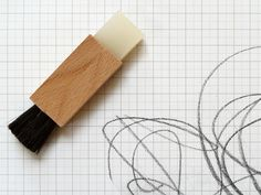 A genius idea if ever we saw one. In one end of the wooden block is a pencil eraser, and in the other a natural hair brush for sweeping away all of the rubbings Natural Hair Brush, Natural Hair Styles, Berlin, Pencil Eraser, Designer Toys, Wooden Blocks, Stationery, Arts And Crafts, Writing