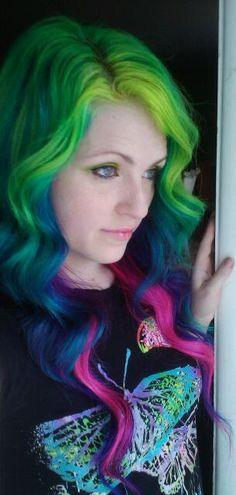 Multi-color neon hair