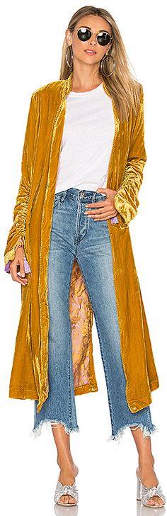 Free People Dhalia Velvet Duster Coat in Mustard.…#Teen #Sponsored #Loveit