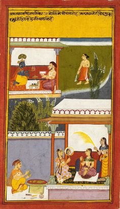 Krishna performing puja in the upper portion; Radha gazing at her image in the mirror in the lower portion. Illustrations to a nayika bheda (the manners and practices of the married and of lovers). Mewar, ca. 1725. Full view (click & enlarge): http://media.vam.ac.uk/collections/img/2013/GB/2013GB1442_2500.jpg