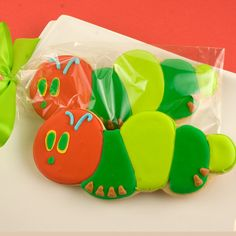 Caterpillar Sugar Cookie Favors (12 Favors, Bagged and  Bowed). $36.00, via Etsy.