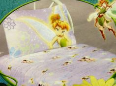 """Disney FAIRIES 4 Piece Full Jersey Knit Sheet Set by Disney. $29.99. Purple Cotton Jersey Knit. Includes 1 Flat Sheet 1 Fitted Sheet 2 Pillowcases.  Comes packaged in a jersey knit drawstring bag.. 4 Piece Full Size SHeet Set. Light puprle with 3"""" fairies in different poses. Blue and darker purple writing such as """"Pixie"""" """"Maiden"""" """"...they played music and danced in the light of fireflies"""" Fun carry case that can be used for pajama bag or toy bag, etc.. Save 25%!"""