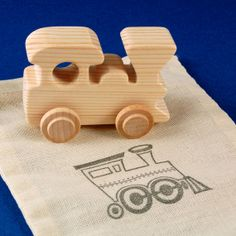 Train Party Favors  Package of 5 Natural Wood Toy by nwtoycrafters, $17.50