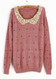Pink Vintage Polka Dot Sequins Sweater