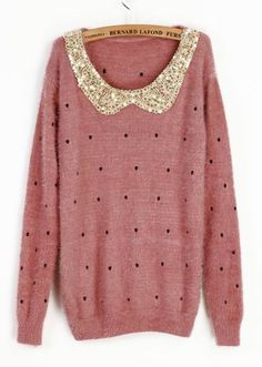 Pink Vintage Polka Dot Sequins Collar Sweater. want so bad