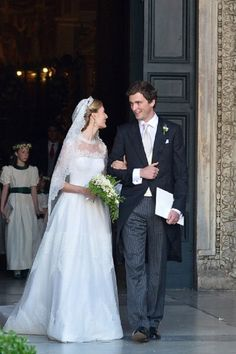 Prince Amedeo of Belgium and Elisabetta Rosboch von Wolkenstein (also known as Lili Rosboch) leave the basilica Santa Maria in Trastevere after they just got married, 05.07.2014 in Rome.