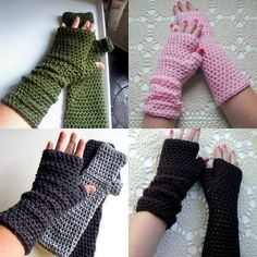 Long Fingerless Gloves - Yes? No? I'm thinking practically...warm, but I can still read my book on the bus. :-) Probably not in pink. Probably grey or navy blue.