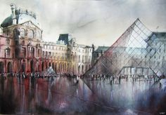 """republicx: """" Amazing watercolor paintings by Nicolas Jolly Nicolas Jolly is a French artist working with black ink. Black and white allows him to bring additional emotion to the scene by increasing. Watercolor Canvas, Watercolor Paintings, Original Paintings, Watercolours, Illustration Manga, Illustrations, Art Parisien, Louvre Pyramid, Paris Painting"""