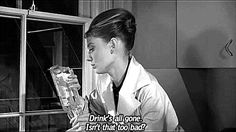Drink's all gone. Isn't that too bad? Breakfast At Tiffany's is a pretty famous movie, it's recommended in my movie books and is usually on a top film critic's list as a classic. Collection of great and romantic Breakfast at Tiffany's quotes. Breakfast At Tiffany's Book, Breakfast At Tiffany's Quotes, Breakfast For A Crowd, Romantic Breakfast, Holly Golightly Quotes, Girl Quotes, Book Quotes, Audrey Hepburn Breakfast At Tiffanys, Audrey Hepburn Quotes