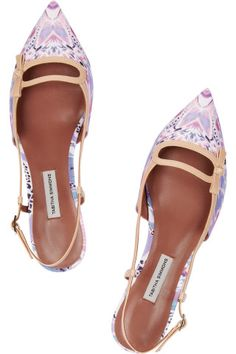 Tabitha Simmons|Dilly leather-trimmed printed satin point-toe flats