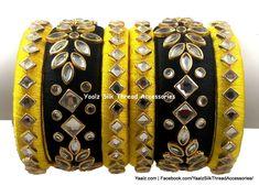 Yaalz Heavy Kundan Stone Partywear Bangle Set In Mustard Yellow & Black Colors