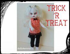Levende dode Doll aangepaste Goth mode HALLOWEEN jurk en legging - door dolls4emma