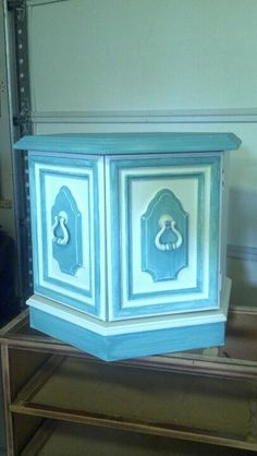 End table painted white and blue