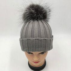 Which in shower real sliver fox fur pompom children winter hat knit bobble fur  pom pom ca95ffdf7513