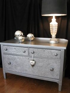 How to Remove Old Veneer and Use Wallpaper to Hide Flaws how to remove old veneer before and after metallic painted dresser, how to, painted furniture, This chest had great bones Paint Furniture, Furniture Projects, Furniture Makeover, Home Furniture, Furniture Chairs, Funky Furniture, Furniture Design, Bedroom Furniture, Silver Furniture