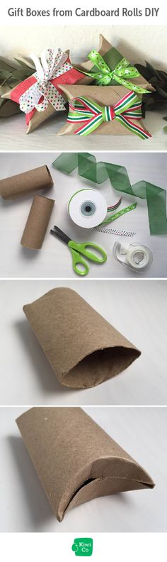 Gift Boxes from Cardboard Rolls DIY.  Yes - old toilet paper rolls can make for a perfect little gift. Give your wrapping paper and boxes a break, grab some recycled tubes and some ribbon and get wrapping. activities, for kids, projects, science experiments, educational activities, DIY science experiments.