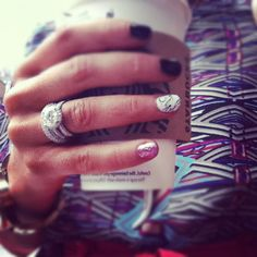 Cute nails. IN LOVE with that ring.......