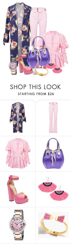 """""""Florals & Plaid! Oh my!"""" by shamrockclover ❤ liked on Polyvore featuring Miss Selfridge, Chloé, Rosie Assoulin, Cesare Paciotti, Charlotte Olympia, Cartier, Madewell, plaid, floralprint and FloralCoat"""