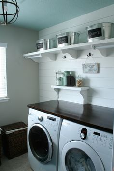 Build a DIY counter top over your washer and dryer. No more lost socks behind the dryer.