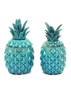 Set of 2 Turquoise Ceramic Pineapple Jars