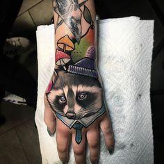 Animal Hand by@juliaszewczykowska at @juniorink.pl in Warsaw Poland. #mushrooms #racoon #juliaszewczykowska #juniorink.pl #juniorink #warsaw #poland #tattoo #tattoos #tattoosnob