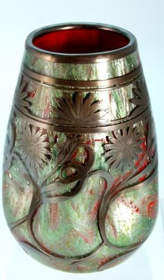 Loetz Imperial-red Titania Perl glass. Decor identified by Deb Fitzsimmons