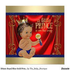 Ethnic Royal Blue Gold Prince Baby Shower Invitation