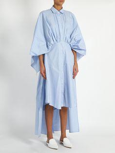 Open-back gathered-waist striped shirtdress | palmer//harding | MATCHESFASHION.COM