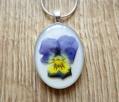 Violet Necklace, Purple, Yellow, White, Pressed Flower, Pendant, Resin, Resin Jewellery, Silver Plated, Handmade from Picsity.com