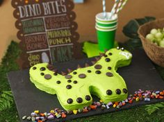 Dinosaur Party  For a birthday party of prehistoric proportions, think dinosaurs. Betty's Jurassic-era bash comes complete with an easy-to-make T-Rex birthday cake, Brontosaurus cookie bones and simple dollar-store party favors.