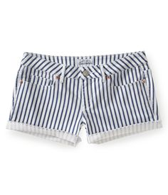 Striped Denim Shorty Shorts - Aeropostale