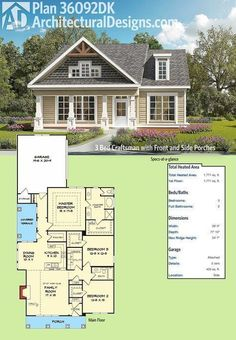 Architectural Designs 3 Bed Craftsman House Plan has a front and a side covered porch to enjoy the beautiful weather on. The family room has a vaulted ceiling to lighten up your time with family and friends. The master bedroom has dramatic trayed c Garage House Plans, Craftsman House Plans, New House Plans, Dream House Plans, House Floor Plans, Craftsman Porch, Craftsman Farmhouse, Craftsman Interior, Bungalow House Plans