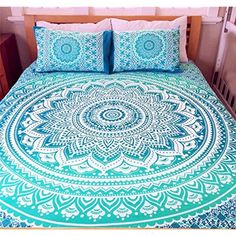 Saini Art Exclusive Queen Size Ombre Mandala Indian Boho Bedding Set Hippie Tapestry Wall Hanging, Hippy Blanket or Beach Throw Hippie Tapestry Wall Hanging, Hippy Blanket (Queen, Green B-1) * For more information, visit image link. (This is an affiliate link) #Bedding