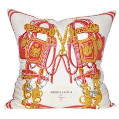 Large Vintage Hermes Red Equestrian Silk Scarf and Irish Linen Cushion Pillow | From a unique collection of antique and modern pillows and throws at https://www.1stdibs.com/furniture/more-furniture-collectibles/pillows-throws/