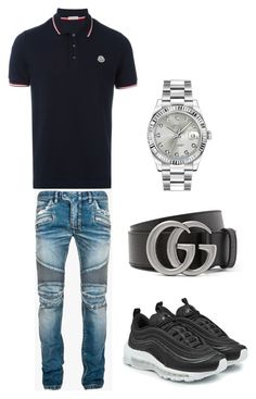 Untitled #341 by aintdatjulian on Polyvore featuring polyvore, Moncler, Balmain, Rolex, Gucci, NIKE, men's fashion, menswear and clothing