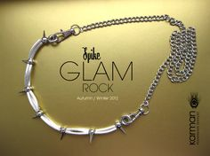 Silver glam rock necklace. Spiked jewelry. Bold modern edgy silver spikednecklace by Karman Jewelry.. $100.00, via Etsy.