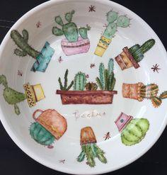 Plato cactus pintura en porcelana de Virginia
