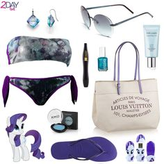 "My Little Pony - Rarity inspired Outfit on 2Daybit  Miss Bikini – Mimosa Bikini Louis Vuitton – Cabas MM Miluna – ""La Gemma Preziosa"" Earrings Estée Lauder – CyberWhite HD – Advanced Brightening UV Protector SPF 50 Gucci Flora 59mm rimless sunglasses Lancôme – Hypnose Waterproof Mascara Kiko – Eyeshadow 163 Cerulean Havaianas Flip Flops Mimobot – Rarity – Limited Edition Usb Flash Drive Essie / Nail Polish Beach Bum Blu Hasbro – My Little Pony – Rarity image found here."