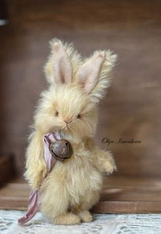 Vanilla By Olya Isaenkova - Hello,Today I have a fluffy rabbit which is created from an amazing gentle mohair and a its a real pleasure to hold this rabbit in the arms.He is stuffed with pine sawdust and fully jointed with 5 cotter pins. His eyes are black German glass.He has a silk ribbon and...