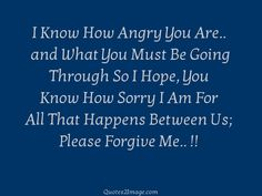 I Know How Angry You Are..  and What You Must Be Going Through So I Hope, You Know How Sorry I Am For All That Happens Between Us; Please Forgive Me.. !!