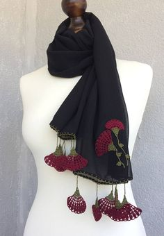 Burgundy flower scarf, oya crochet Turkish scarf. Handmade jewelry scarf, boho carnation flowers foulard. Black silky scarf. Handmade, tube way sewn scarf with burgundy and olive green crocheted flowers, as fringes! You can leave it long, twist it or wrap it around your neck. It is a very