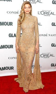 Gigi Hadid in a tan Zuhair Murad dress