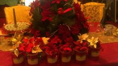 Christmas center piece& decorated pumpkin bread cans