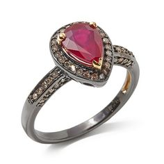 Rarities Glass-Filled Ruby and Diamond Pear-Shaped Ring