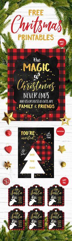 FREE Christmas Wall Art, Invitations and Gift Tags