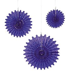 Liking these  for the reception, If I can't get my Mexican paper flowers.  Purple Tissue Hanging Fans - OrientalTrading.com
