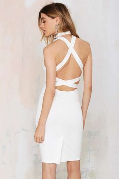 Rebel Yell Criss Cross Bodycon Dress - White - Going Out | LWD | Body-Con